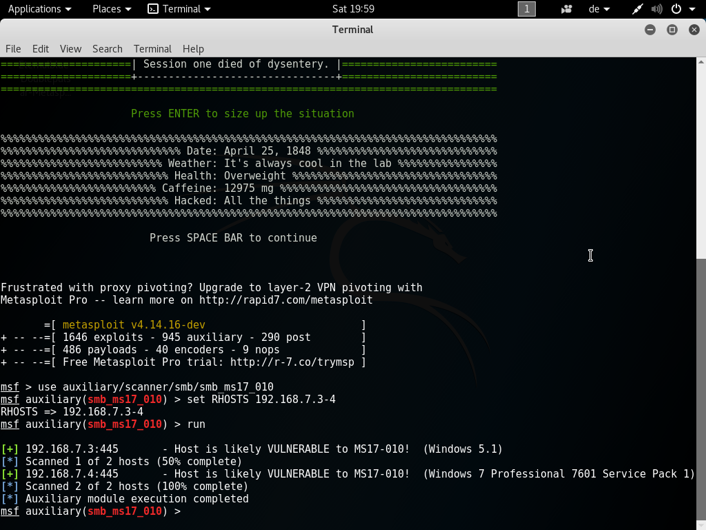 Security: Playing around with NSA exploit EternalBlue (MS17-010)